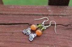 Handmade+orange+gemstone+and++pumpkin+charm+earrings+by+BeadRoad,+$10.00