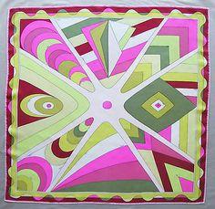 """Vibrant Vintage Emilio Pucci Silk Twill Scarf Fuschia Chartreuse 35"""" x 36""""   eBay"""