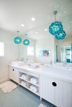 Turquoise, Aqua And Teal // penny tile floor for the kids bath