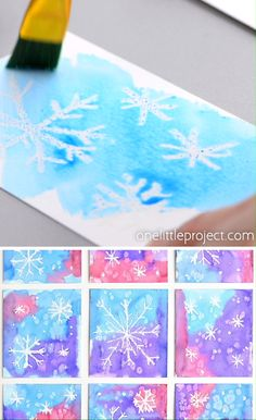 This magic salt and watercolor snowflake art project for kids is so much fun! The snowflakes magically appear when you a Winter Art Projects, Winter Crafts For Kids, Kids Crafts, Art For Kids, Winter Kids, Artwork For Kids, Art Project For Kids, Winter Crafts For Preschoolers, Winter Preschool Crafts