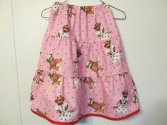 Sock Monkey skirt Girl's tiered skirt hearts by creationsbyjessi