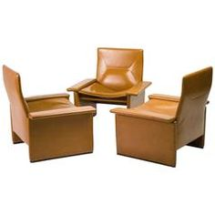 Set of Three Leather Lounge Chairs Designed by Tito Agnoli