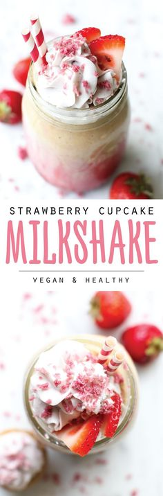 Sweet strawberry cupcake transformed into a thick vegan milkshake. Three creamy layers, whipped cream, sprinkles--it's chilly dessert through a straw!