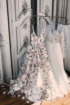3D Flower V Neck Floor Length Prom Dress, V Neck Formal Dress, Graduation Dress