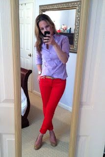 Surprisingly I love the red pants and lavendar blouse.  Love something different!