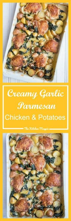 Creamy Garlic Parmesan Chicken & Potatoes. Crispy, delicious chicken thighs cook in a creamy garlic sauce with potatoes & spinach for a one-pan meal!