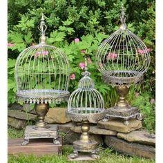 Cage Deco, Solar Light Crafts, Solar Lights, Lantern Set, Bird Cages, Plant Cages, Garden Projects, Garden Ideas, Unique Garden Decor