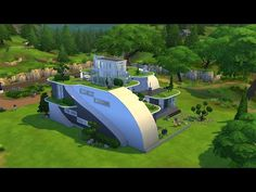 The Sims 4 - Futuristic House Building Sims 3 Mansion, Sims 3 Houses Plans, Lotes The Sims 4, Sims Cc, Modern House Floor Plans, Futuristic Home, Best Sims, Mansions Homes, Celebrity Houses