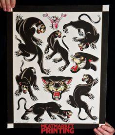 "Panther Flash Sheet, Pork Chop Sheet, Tattoo Flash, Braden Kendall 16 x 20"" Fine Art Print. $40.00, via Etsy."