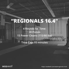 """Regionals 16.4"" WOD - 4 Rounds for Time: 28 Pistols; 15 Power Cleans (115/80 lbs); Time Cap: 10 minutes"