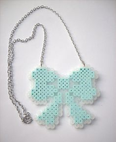 Perler bead bow necklace