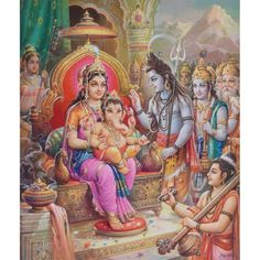 Parvati and Ganesha Sitting on the Throne Blessed by Lord Shiva Artist: Indra Sharma. (via eonline artgallery) Shiva Parvati Images, Durga Images, Lord Shiva Hd Images, Ganesh Images, Shiva Shakti, Shri Ganesh, Ganesha Art, Lord Ganesha, Jai Hanuman