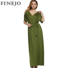 FINEJO Sexy Women Summer Dress Batwing Dress Deep V Neck Maxi Long Dresses Party Evening Full Gown Belt Vestidos Femininos XXL