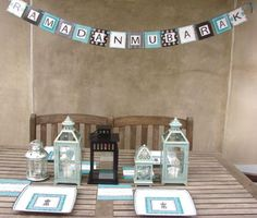 You will find everything you need to make your Ramadan iftars and Eid parties a smashing success Eid Banner, Balloon Banner, Eid Balloons, Eid Party, Ramadan Decorations, Damask, Lanterns, Diy Lantern, Gift Wrapping