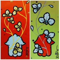 "Bid on any of these two individual  artwork- ""Hamsa Orchid on Vermillion"" or ""Hamsa Orchid on Green"" by Ed King Pop Art. Acrylic- Matted-Original 6"" x 12 ""."