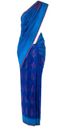 Blue and red floral tile handwoven sari available only at Pernia's Pop-Up Shop.