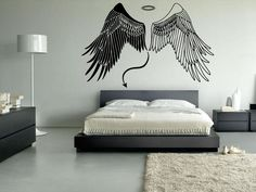 Wall Vinyl Sticker Decals Mural Room Design Pattern Art Angel Devil Wings Tail by RoomDecalsAndDesigns on Etsy Creative Wall Painting, Creative Wall Decor, Wall Painting Decor, Angel Wings Painting, Angel Wings Wall Art, Bedroom Wall Designs, Bedroom Decor, Small Bedroom Inspiration, Fairy Bedroom