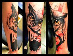 polka trash art tattoo owl - Google претрага