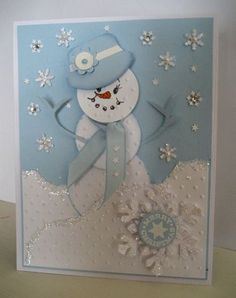 Looks like the Round Tab punch was used for the hat. There is also a picture of a snowman in a suit where it appears to be the Circle punch cut partway through and edges turned over to create the suit #Wedding cards