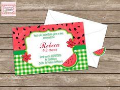 Convite de Aniversário Tema Melancia Tamanho 10x7 Impressão em papel opaline 180g Acompanha envelopes + adesivos de fechamento combinando com o convite. * Você pode adquirir a arte deste convite acessando: * Para adquirir no tamanho 10x15, contate-nos.