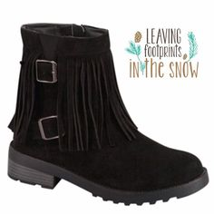 THEY'RE HERE! SUEDE MOCCASIN HIKERS WITH BUCKLES HP 10-16IN STOCK! Ok, here's a blend that will get your day going! Boho, hippie chick fringe combined with biker babe buckles!Grips on soles and heels. Love these! In black. More info to come when they arrive.♦️SIZES: 5.5-1, 6.0-L1, 6.5-2, 7.5-1, 9.0-1. PLEASE DO NOT BUY THIS LISTING! I will personalize one for you. FITS TRUE TO SIZE. COMFY! Forever  Shoes Ankle Boots & Booties