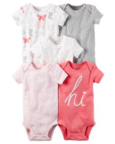 Crafted in babysoft cotton with sweet prints and embroidered slogans, these quick change bodysuits are the perfect starters to any little outfit.