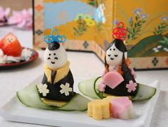 Japanese figures made out of food