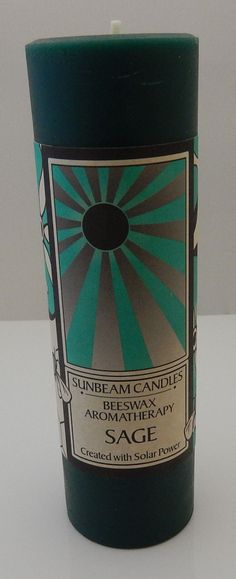 SAGE Beeswax Candle Sunbeam Candles Aromatherapy 2x6 Pillar Candle Revitalize