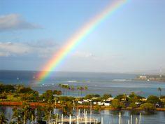 Beautiful rainbow behind the Hawaii Prince Hotel.  Honolulu, Hawaii