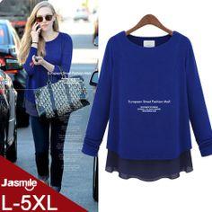 Free Shipping discount brand Europe style ruffle bottom blusas 5xl plus size women jersey patchwork chiffon blouses DM131805 $33.80