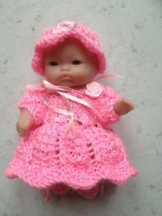 "Hand Knitted Outfit For A 5"" Berenguer Doll Or Similar In Pink 