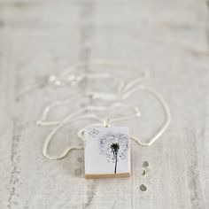 Dandelion Art Scrabble Tile Necklace