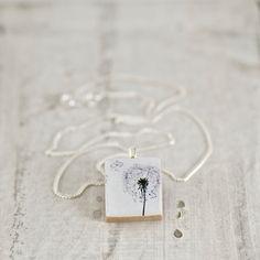 Dandelion Art Scrabble Tile Necklace