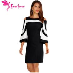 Dear Lover Office Ladies Work Wear Dresses Elegant Black White Colorblock  3 4 Sleeve Dress 742778de1e8c