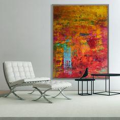 ABSOLUTELY HAPPY, 200x150 cm, acrylic on canvas, abstract art by Eva Tikova Happy Colors, Abstract Art, Canvas, Painting, Collection, Tela, Painting Art, Canvases, Paintings