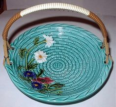 Majolica Pottery Basket Flowers ~ Daisy, Poppy, Aster Flowers, Handpainted Germany  Beautiful hues of soft turquoise mised with soft greens.