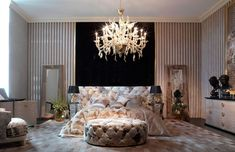 Boca do Lobo mission is understand and interpret the past through technology and contemporary design Luxury Homes Interior, Modern Interior Design, Interior Architecture, Interior Ideas, Luxury Bedroom Design, Chandelier In Living Room, Versace Home, Large Bedroom, Master Bedroom