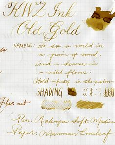 Old Gold - Kwz Ink - posted in Ink Reviews: As some of you may know Poland is one of biggest exporters of cosmetics, furniture and fruits. But we also have inks. Or, to be more precise, one ink maker - KWZI. Konrad offers handmade inks in more than sixty colors. I believe its fair to say iron - gall inks were refreshed by him. You can check KWZ website here. Old Gold is one of KWZI classics. I believe it was one of the first Konrads inks that I tried. Also its the ink that...