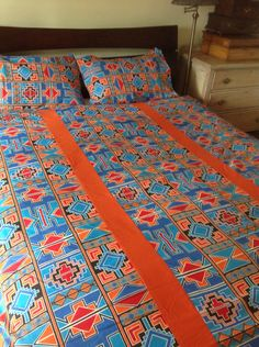 Items similar to African bed linen. Striking queen size duvet cover with two matching pillowcases on Etsy Luxury Duvet Covers, Luxury Bedding Sets, Bed Duvet Covers, African Interior, African Home Decor, Duvet Bedding, Linen Bedding, King Comforter, Bed Linens