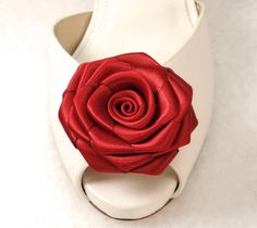 Gift Red Satin Rose Shoe clips by daisyclub on Etsy, $16.00