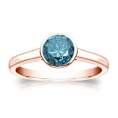 Auriya 14k Gold 3/4ct TDW Round Blue Diamond Solitaire Bezel Ring (Blue, I1-I2) (Rose Gold - Size 8), Women's, Pink
