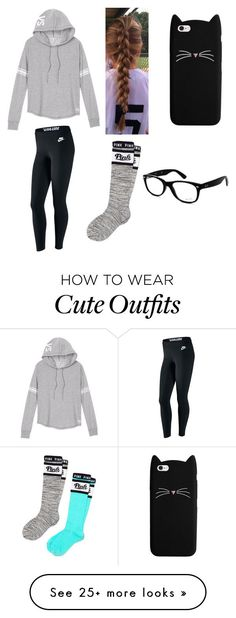 """""""Lazy Outfit #1"""" by abbeykat1 on Polyvore featuring Victoria's Secret, NIKE, Victoria's Secret PINK and Ray-Ban"""