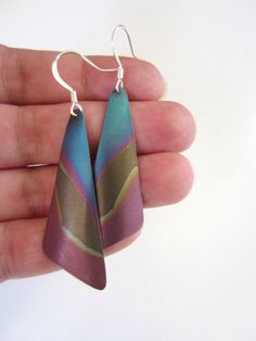 Blue and purple metal earrings Lightweight and by JacAndElsie, $16.00
