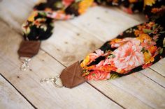DSLR Scarf Camera Strap  Orange Vintage Floral by ImaniStudio