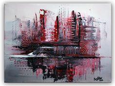 BURGSTALLER Acrylbild Leinwandbild Silber Rot Grau handgemalt abstrakte Malerei