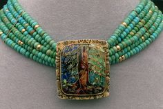 Necklace | Linda Lundell.  'Tree of Life'.  Gold, Chinese Turquoise and cloisonné enamel