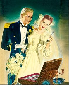 Bride and Groom illustration by Jоn Whitcomb for 1940s Community Silverplate ad.