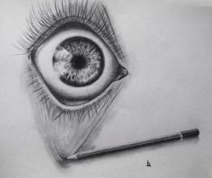 Pencil Sketch Drawing of eye wide open