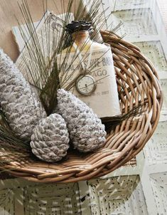 pinecones in a whicker basket
