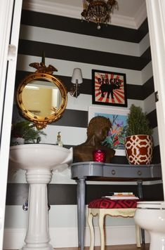 Great tips for doing DIY striped walls. Small spaces, like bathrooms, are so perfect for lots of design and color! design house design home design interior design 2012 Life In Grace, Striped Walls, House Design Photos, Decoration, Home Projects, Home Remodeling, Small Spaces, Diy Home Decor, Sweet Home
